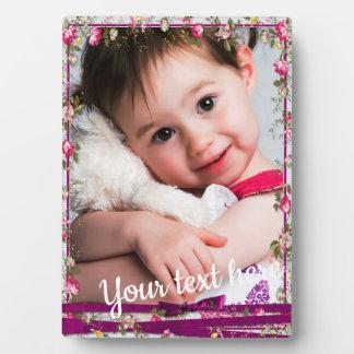 Plaque Photo Cadre floral de photo de ruban pourpre fait sur
