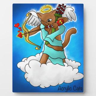 Plaque Photo Chat brun chocolat de cupidon de Saint-Valentin