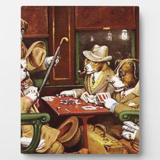 Plaque Photo Chiens jouant au poker