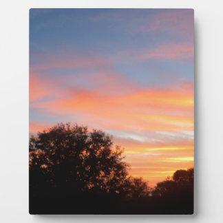 Plaque Photo ciel coloré brillant d'oct. de coucher du soleil