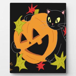 Plaque Photo Citrouille et chat 1