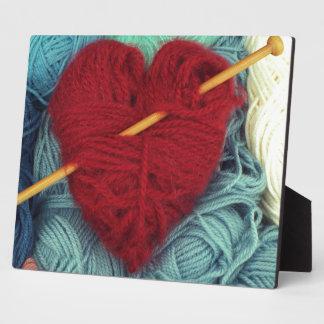 Plaque Photo coeur mignon de laine avec la photographie