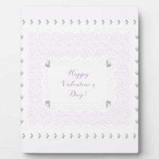Plaque Photo Coeurs et dentelle de Valentine, rose en pastel et