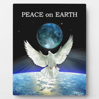 Plaque Photo Colombe de paix au-dessus de la terre de planète