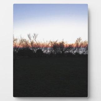 Plaque Photo Coucher du soleil de mer avec la silhouette