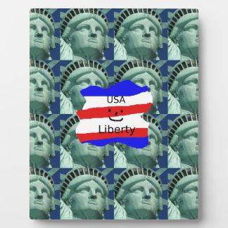 Plaque Photo Couleurs de drapeau des Etats-Unis avec la statue