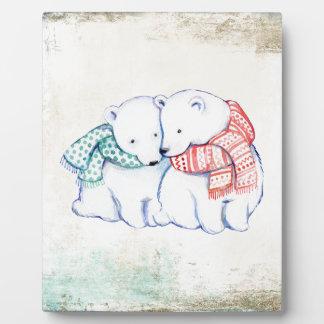 Plaque Photo Couples d'ours blancs