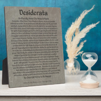Plaque Photo Desiderata sur le marbre gris