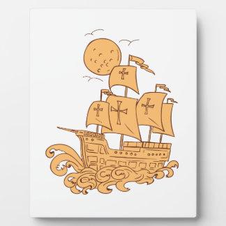 Plaque Photo Dessin de lune de bateau de navigation de