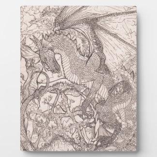 Plaque Photo Dragon avec la licorne de pentagone étoilé