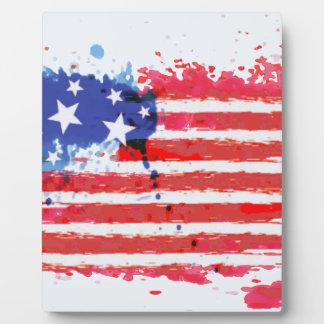 Plaque Photo drapeau américain grunge d'aquarelle