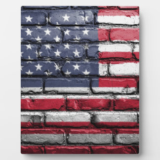 Plaque Photo Drapeau américain peint par mur des Etats-Unis
