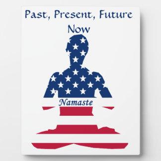 Plaque Photo Drapeau de yoga d'Américain de méditation des