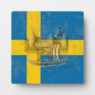 Plaque Photo Drapeau et symboles de la Suède ID159