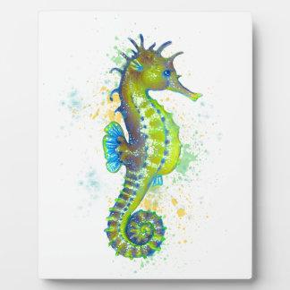 Plaque Photo Éclaboussure d'hippocampe de vert jaune