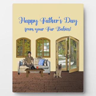 Plaque Photo Fête des pères des bébés de fourrure, homme sur le
