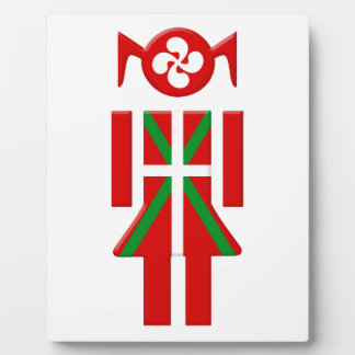 Plaque Photo Fille Basque drapeau Euskadi Bayonne