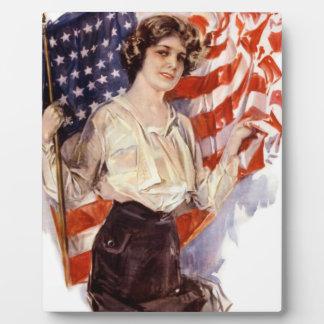 Plaque Photo fille vintage de drapeau américain