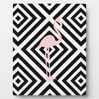 Plaque Photo Flamant - motif géométrique abstrait - rose