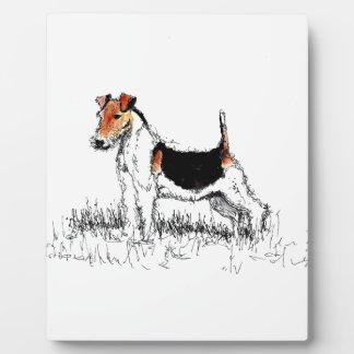 Plaque Photo Fox Terrier se tenant fier