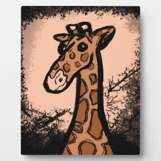 Plaque Photo Girafe noire d'encre de bande dessinée