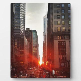 Plaque Photo Gratte-ciel de bâtiments de ville de coucher du