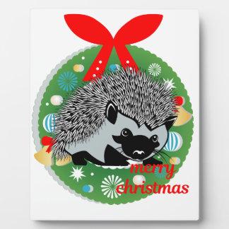 Plaque Photo hérisson de Joyeux Noël