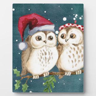 Plaque Photo hiboux de Joyeux-Noël