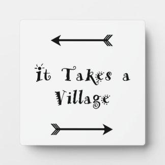 Plaque Photo Il prend un village - adoption Parenting