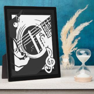 Plaque Photo Jeu de guitare de mélomane noir et blanc