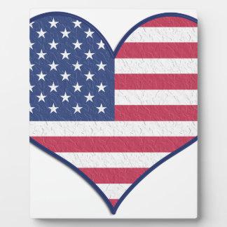 Plaque Photo L'amour Etats-Unis Etats-Unis de coeur de symbole