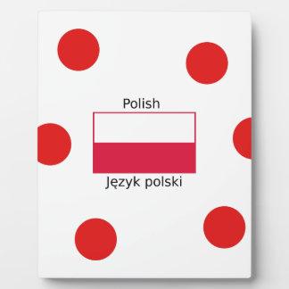 Plaque Photo Langue et conception polonaises de drapeau de la