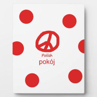 Plaque Photo Langue et conception polonaises de symbole de paix