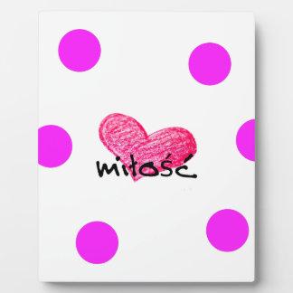 Plaque Photo Langue polonaise de conception d'amour
