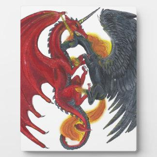 Plaque Photo Licorne noire du feu et dragon rouge