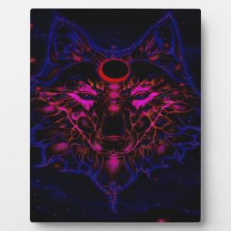 Plaque Photo Loup bleu au néon mythique