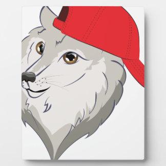 Plaque Photo Loup dans la casquette de baseball