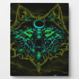 Plaque Photo Loup jaune au néon mythique
