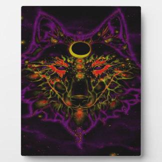 Plaque Photo Loup pourpre au néon mythique