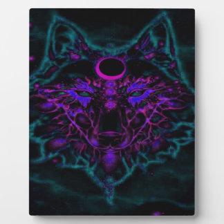 Plaque Photo Loup turquoise au néon mythique