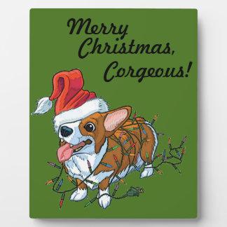 Plaque Photo Lumières de Noël de Noël de chiot de corgi de