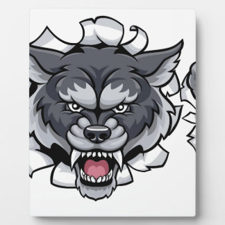 Plaque Photo Mascotte du football de loup cassant l'arrière -