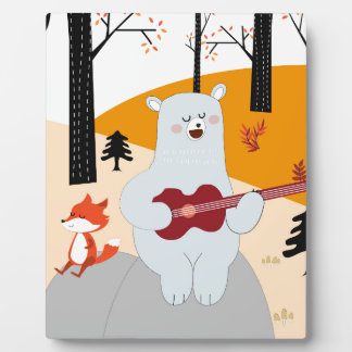 Plaque Photo Mignon chantez un loup de renard de chanson d'été