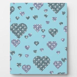 Plaque Photo Motif bleu/gris/argenté de coeur
