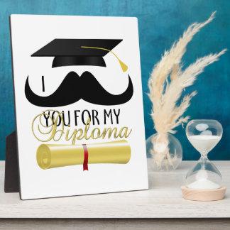Plaque Photo Moustache I vous pour mon diplôme avec le