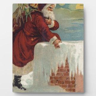 Plaque Photo Noël - Père Noël descendant la cheminée