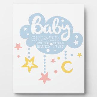 Plaque Photo Nuage et Temp de conception d'invitation de baby