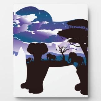 Plaque Photo Nuit africaine avec l'éléphant 5