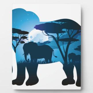 Plaque Photo Nuit africaine avec l'éléphant 6