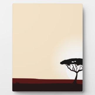 Plaque Photo Or noir de coucher du soleil d'arbre